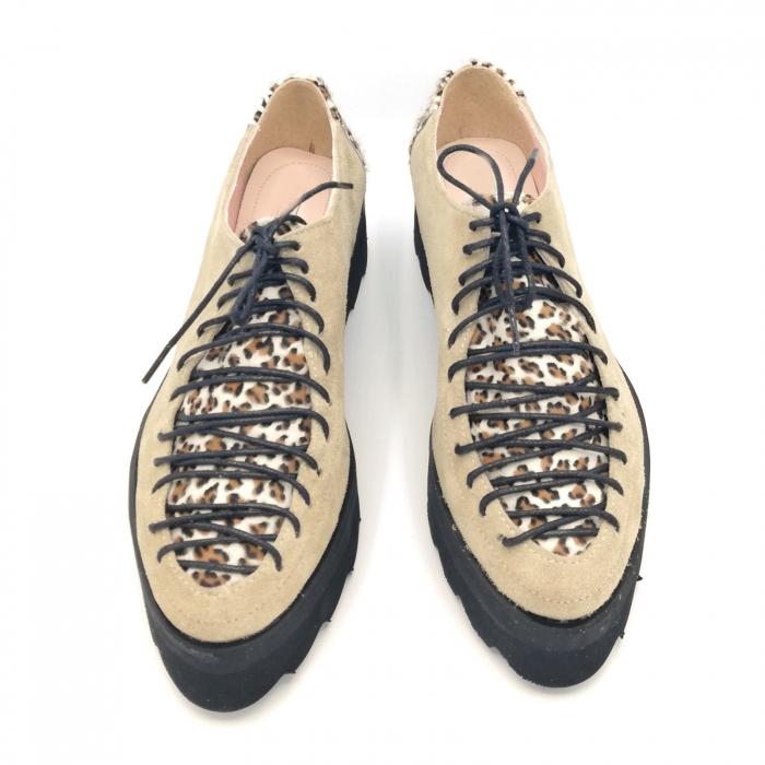 Pantofi dama tip Oxford Pony Beige Laces 3