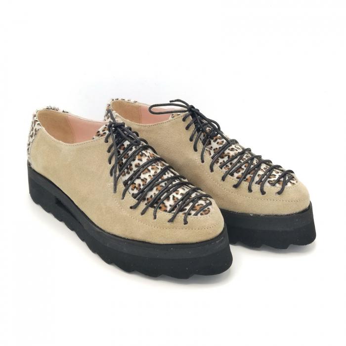 Pantofi dama tip Oxford Pony Beige Laces 2