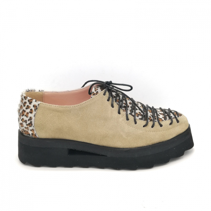 Pantofi dama tip Oxford Pony Beige Laces 0