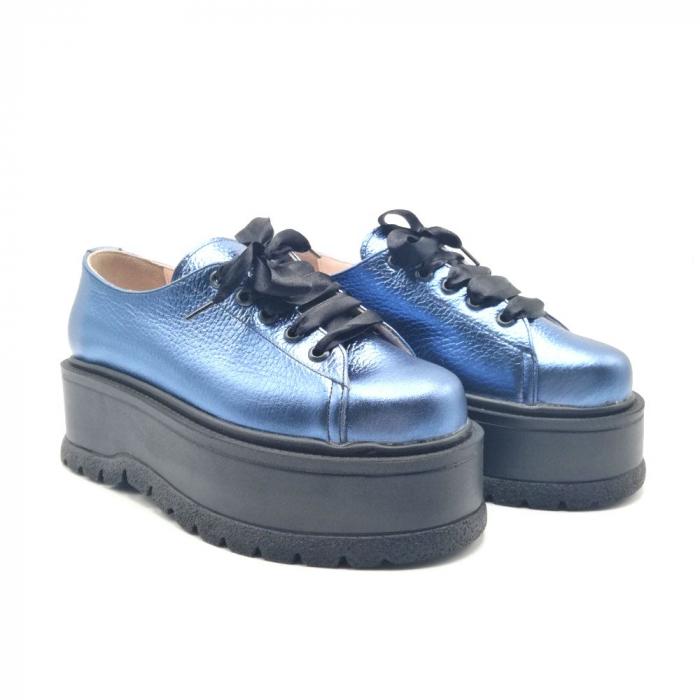 Pantofi dama cu platforma Metal Blue