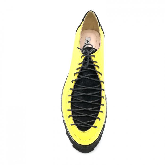 Pantofi dama tip Oxford Yellow Black Laces