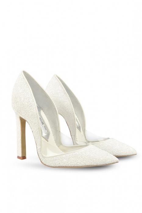 Pantofi de mireasa Mihai Albu White Glitter Pumps 2 1