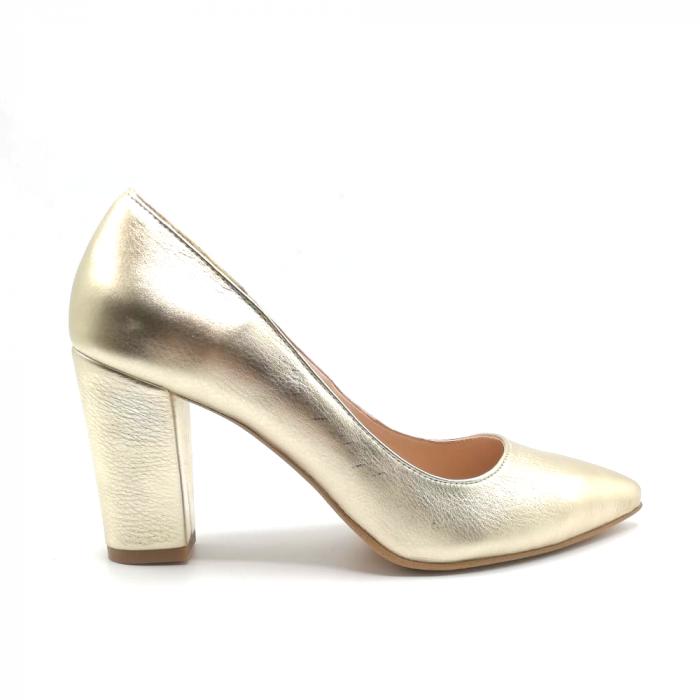 Pantofi din piele cu toc gros Gold Star 0