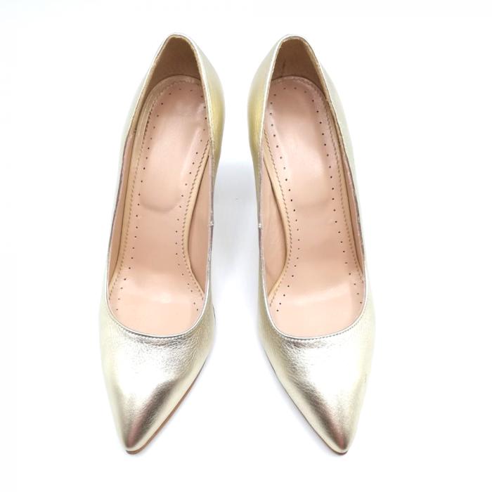 Pantofi din piele cu toc gros Gold Star 3