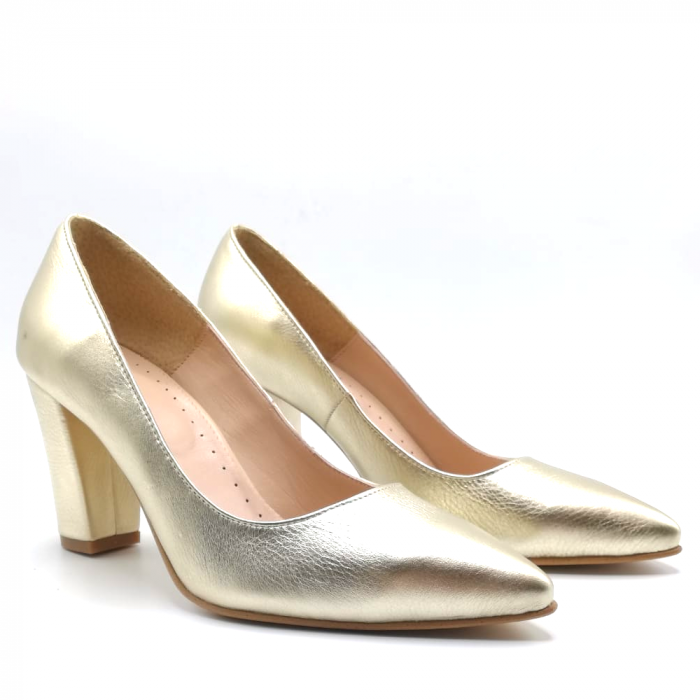 Pantofi din piele cu toc gros Gold Star 1