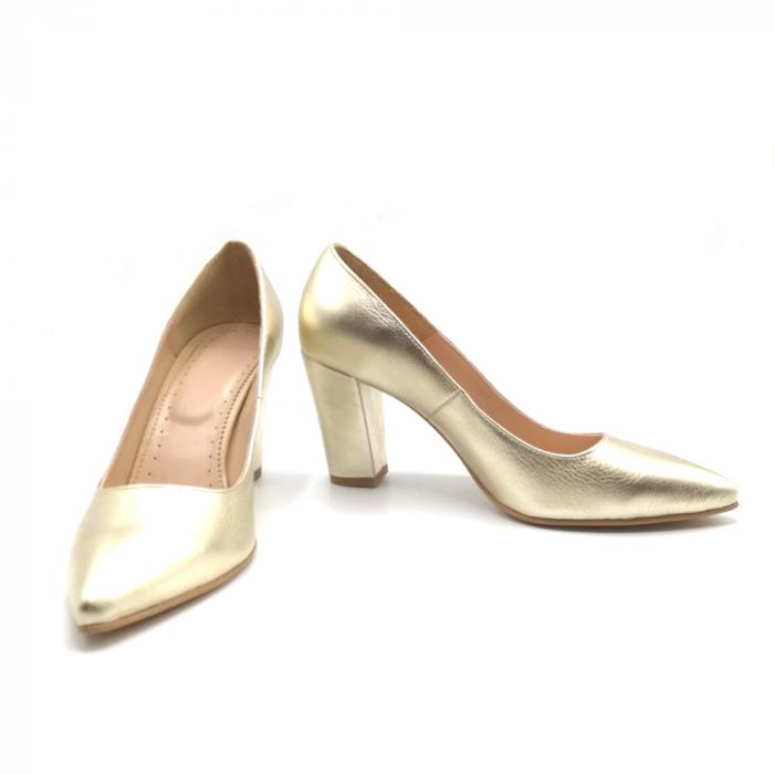 Pantofi din piele cu toc gros Gold Star 4