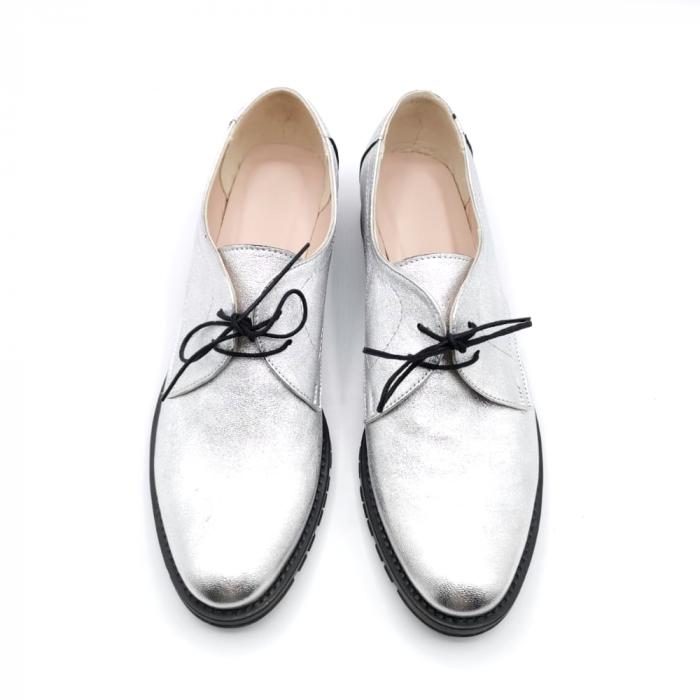Pantofi din piele naturala argintii Tina, 39 3