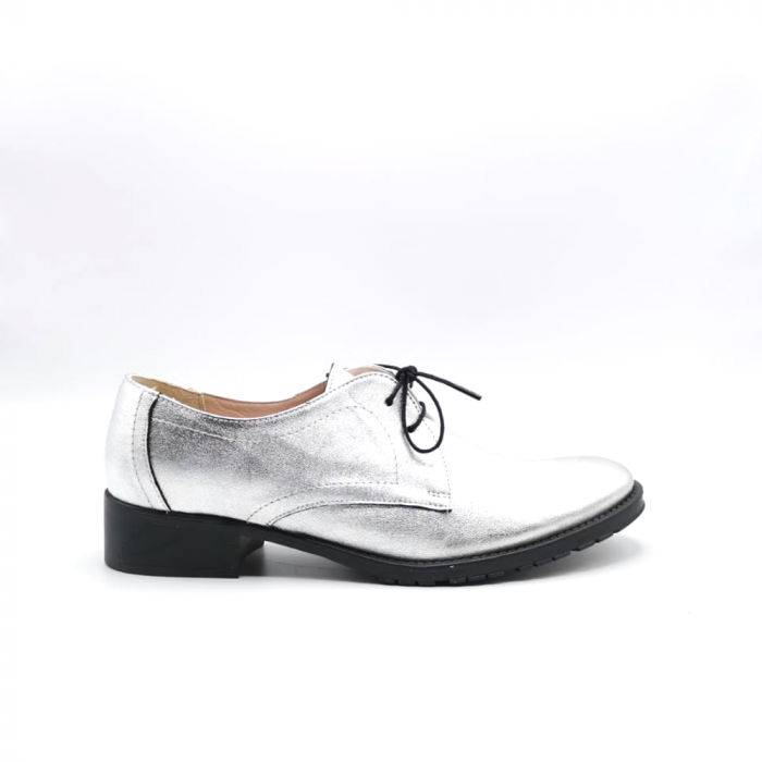 Pantofi din piele naturala argintii Tina, 39 0