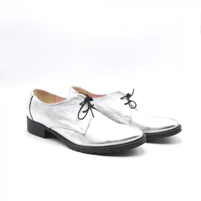 Pantofi din piele naturala argintii Tina, 39 1