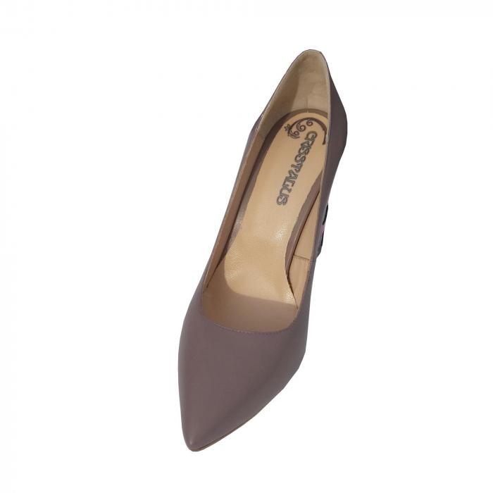 Pantofi din piele naturala cu print digital pe toc 2