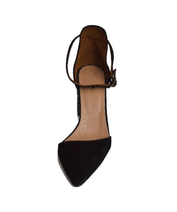 Pantofi din piele naturala cu toc gros Black Glitter 2