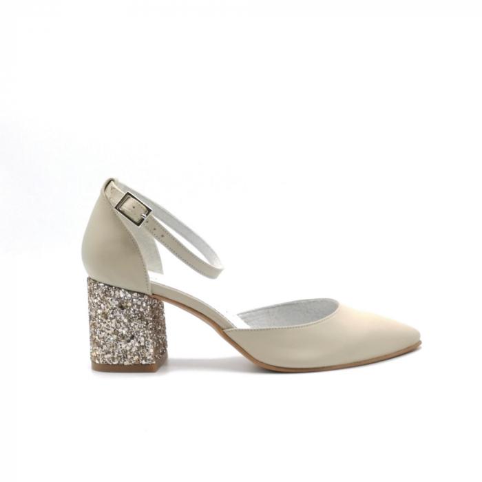 Pantofi din piele naturala cu toc gros Nude Glitter 0