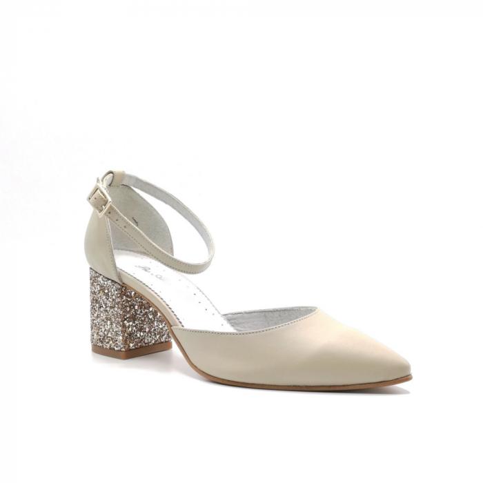 Pantofi din piele naturala cu toc gros Nude Glitter 1