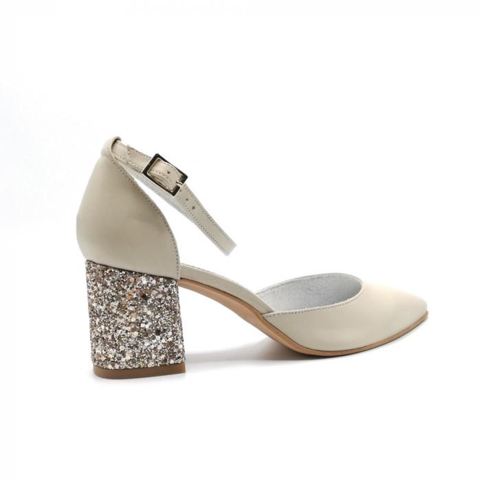 Pantofi din piele naturala cu toc gros Nude Glitter 2