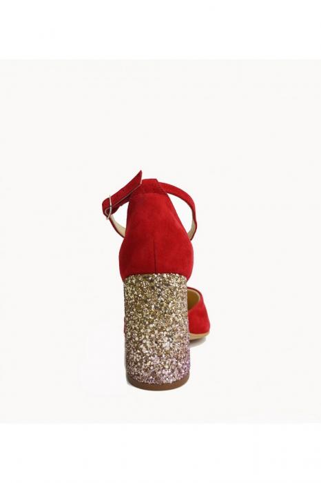 Pantofi din piele naturala cu toc gros Red Glitter 2