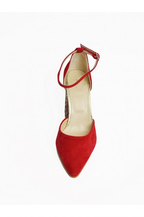 Pantofi din piele naturala cu toc gros Red Glitter 1