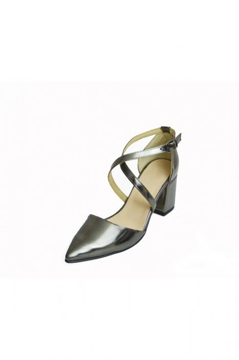 Pantofi din piele naturala cu toc gros Shiny Silver 1