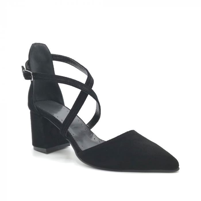 Pantofi din piele naturala cu toc gros Black Velvet 2