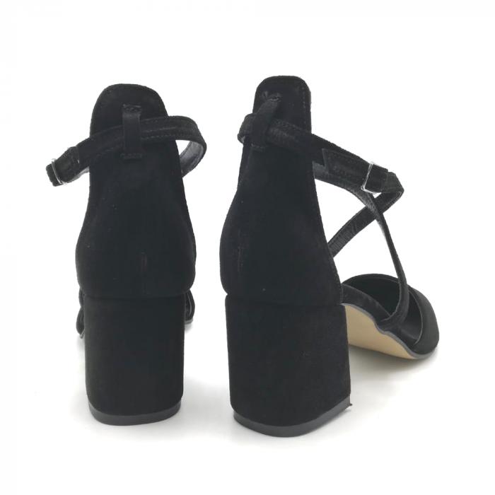Pantofi din piele naturala cu toc gros Black Velvet 4