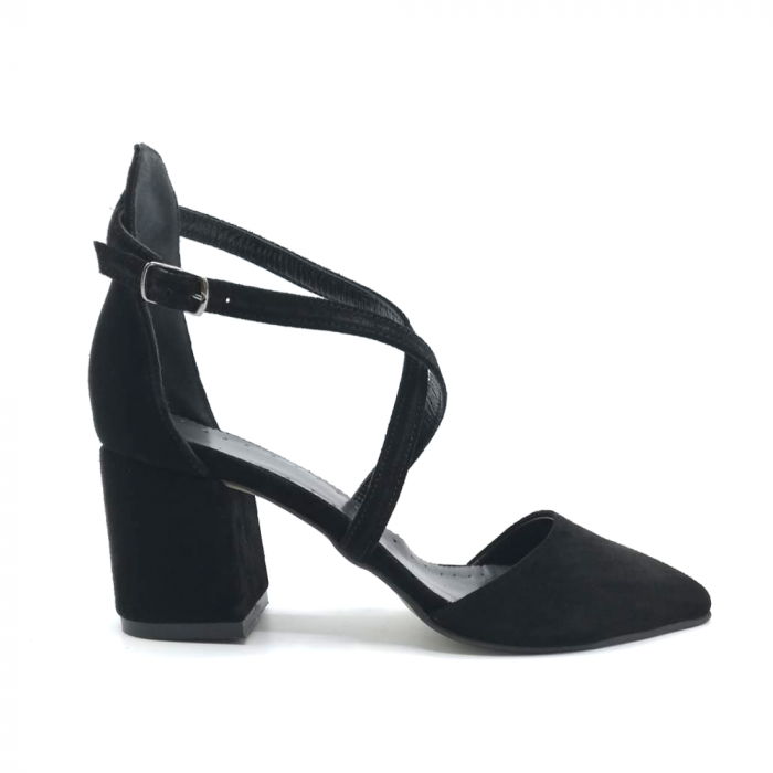 Pantofi din piele naturala cu toc gros Black Velvet 0