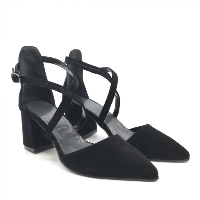 Pantofi din piele naturala cu toc gros Black Velvet 3