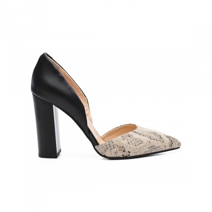 Pantofi din piele naturala snake print toc gros CA58 2