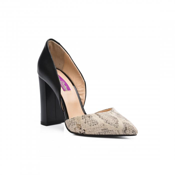Pantofi din piele naturala snake print toc gros CA58 1