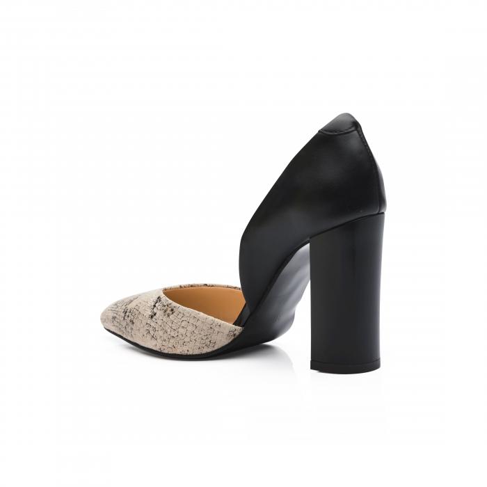 Pantofi din piele naturala snake print toc gros CA58 3