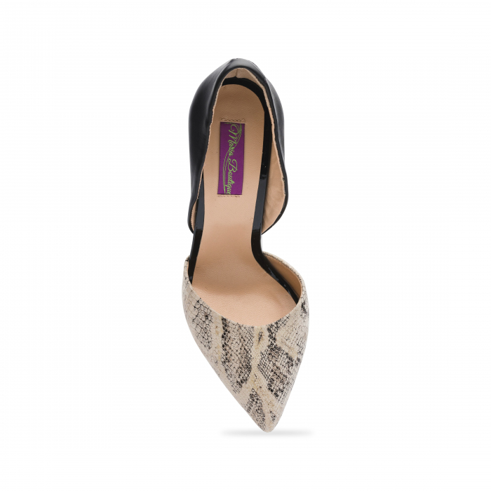 Pantofi din piele naturala snake print toc gros CA58 4