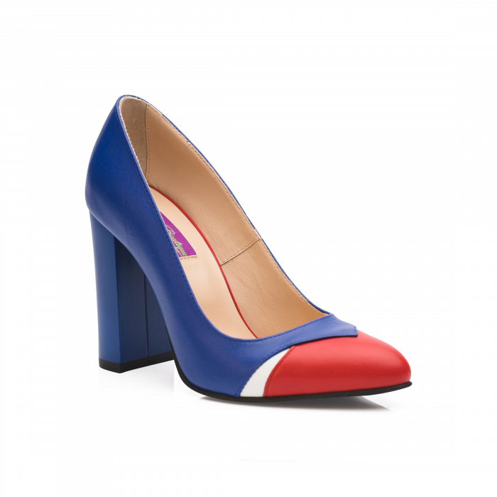 Pantofi din piele naturala albastru cu toc gros CA26 2