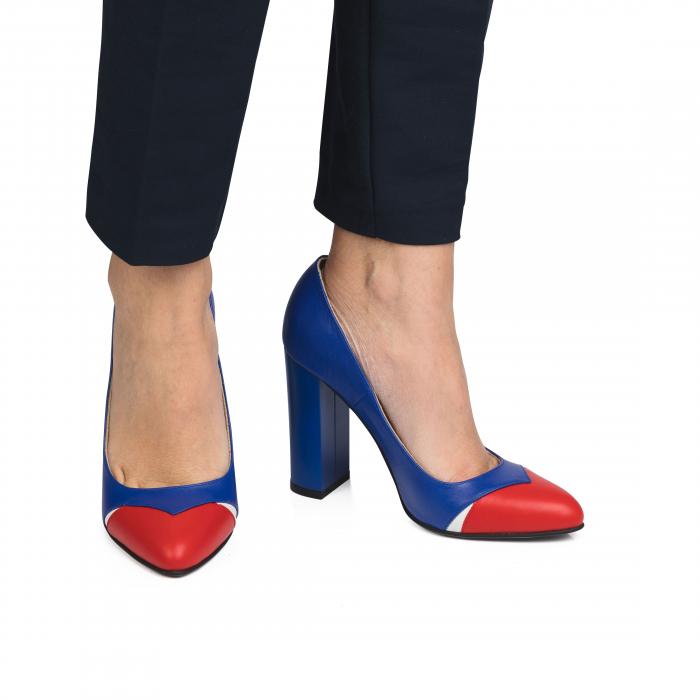 Pantofi din piele naturala albastru cu toc gros CA26 1