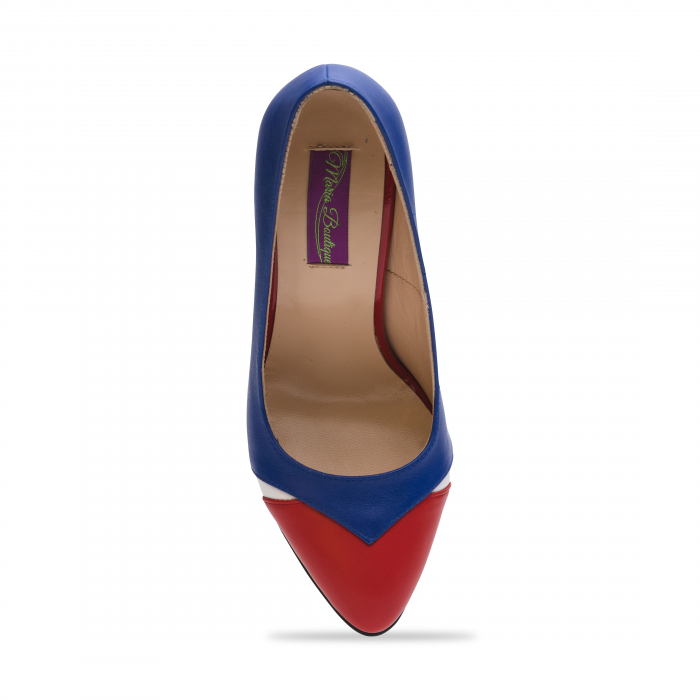 Pantofi din piele naturala albastru cu toc gros CA26 4