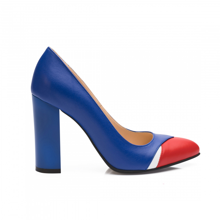 Pantofi din piele naturala albastru cu toc gros CA26 0