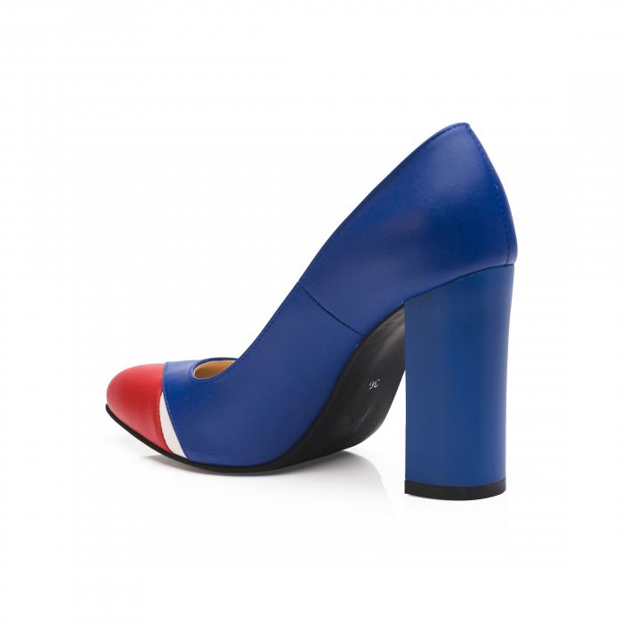 Pantofi din piele naturala albastru cu toc gros CA26 3