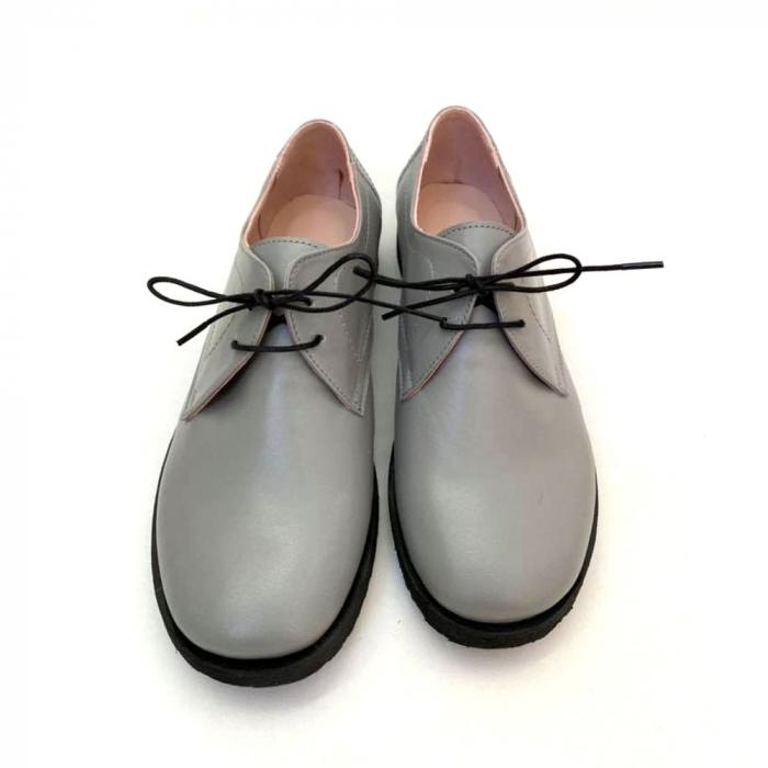 Pantofi din piele naturala Oxford Pax Gri 2