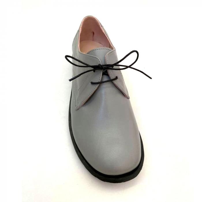 Pantofi din piele naturala Oxford Pax Gri 0