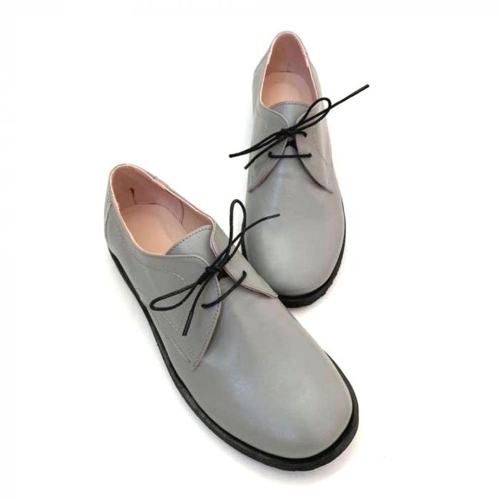 Pantofi din piele naturala Oxford Pax Gri 3