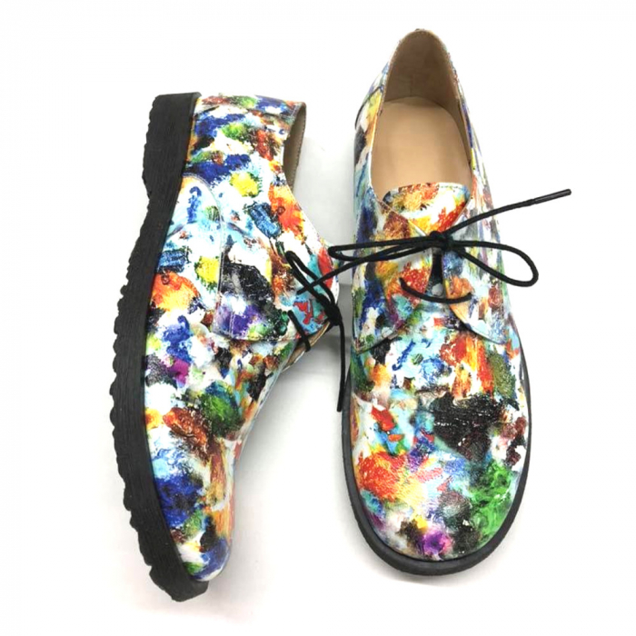 Pantofi din piele naturala Oxford Pax Flowers 0