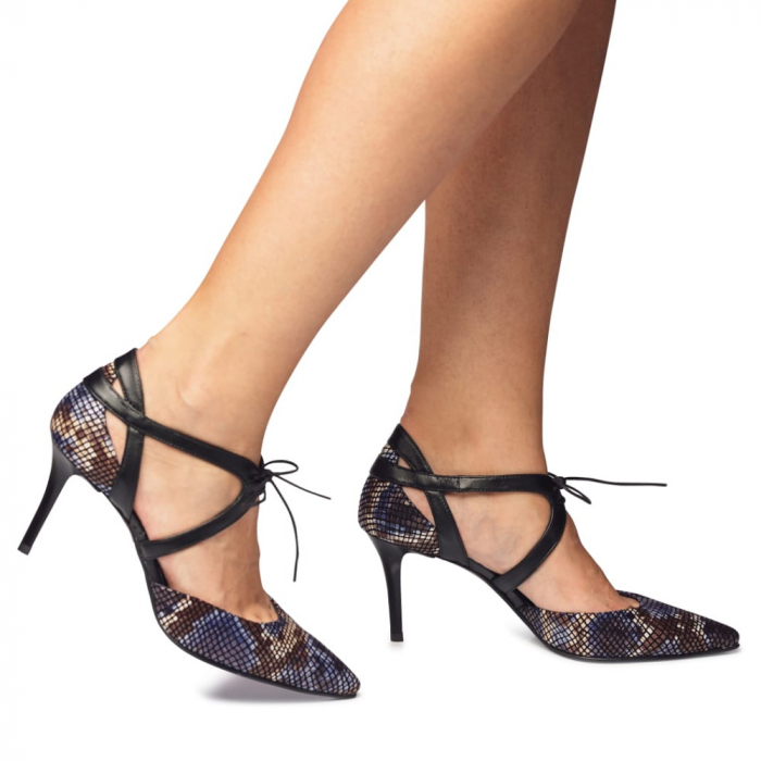 Pantofi din piele naturala snake print toc mediu CA70 0