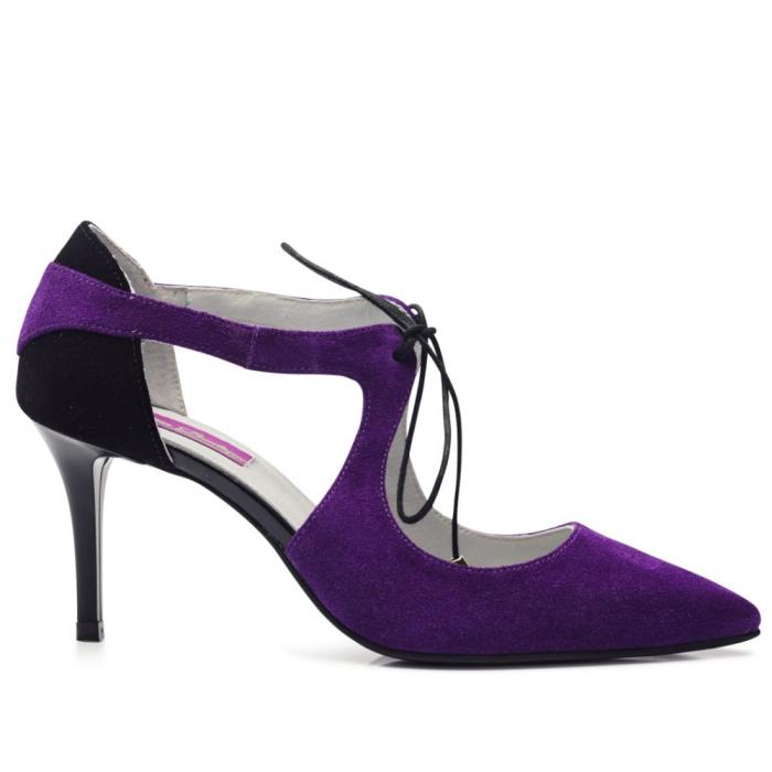 Pantofi din piele naturala intoarsa mov cu toc mediu CA68 1
