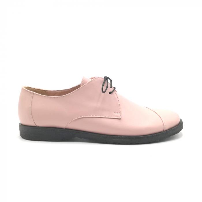 Pantofi din piele Oxford Kika Nude Rose 0