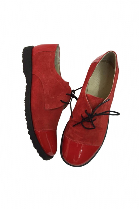 Pantofi din piele Oxford Pam Red 1