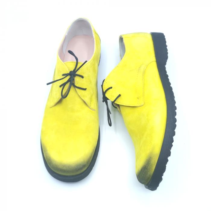 Pantofi din piele Oxford Pax Yellow Vintage, 40 3