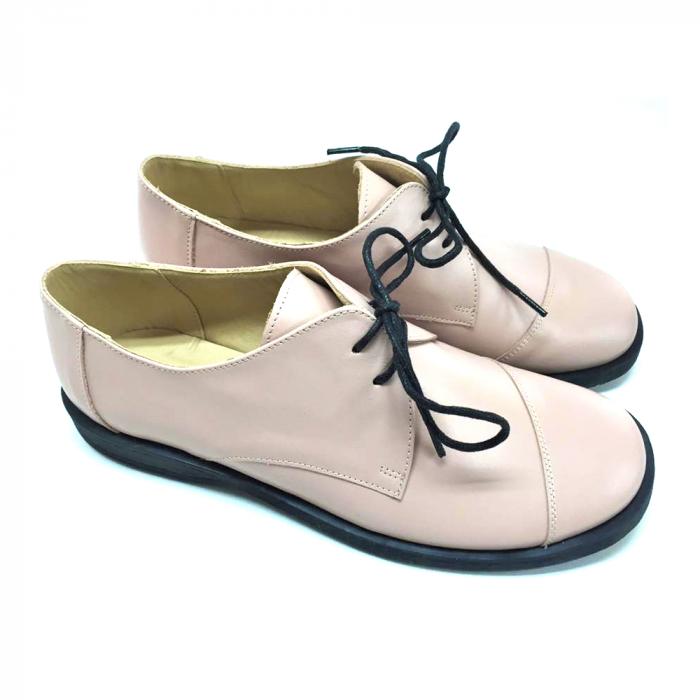 Pantofi din piele Oxford Kika Nude 1