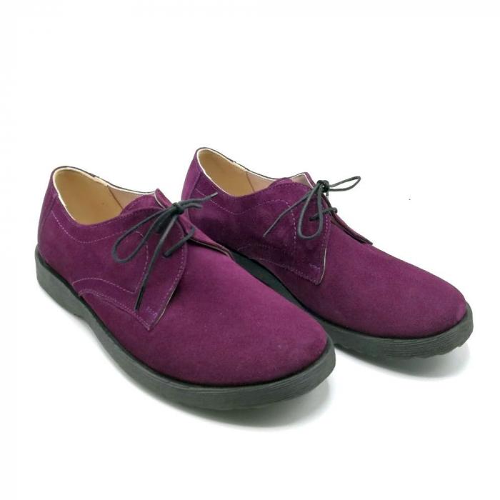 Pantofi din piele intoarsa Oxford Pax Purple 1