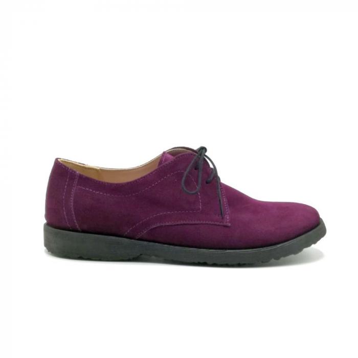 Pantofi din piele intoarsa Oxford Pax Purple 0