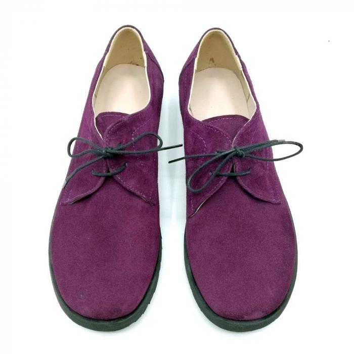 Pantofi din piele intoarsa Oxford Pax Purple 2