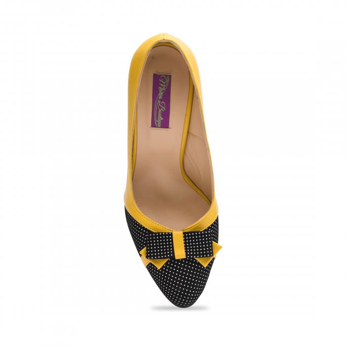 Pantofi eleganti galbeni cu insertie neagra din piele 3