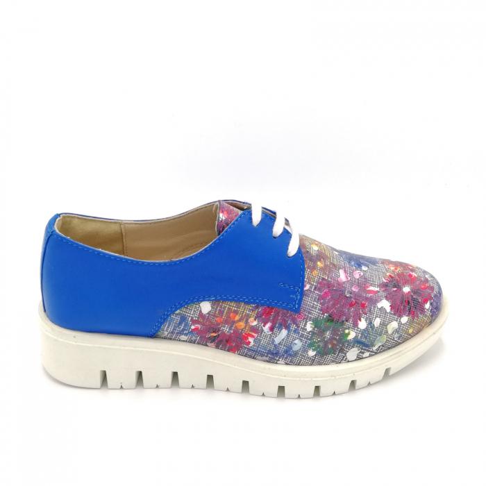 Pantofi dama din piele cu talpa joasa Flowers Blue 0