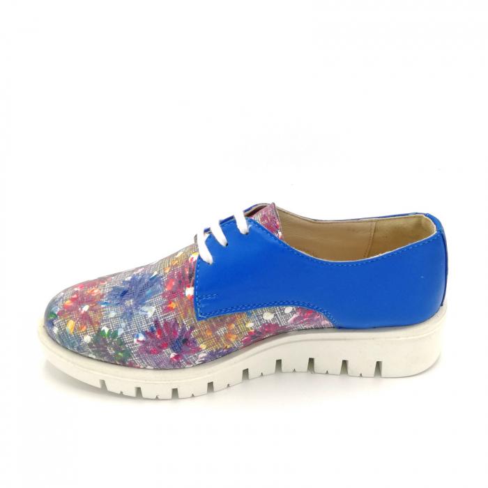 Pantofi dama din piele cu talpa joasa Flowers Blue 1